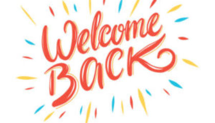 Welcome back hand drawing vector illustration isolated on white background.